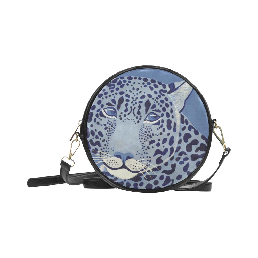 Ultramarine Jaguar Round Messenger Bag (Model 1647)