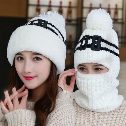 b7469714511 new brim blanket warm knit hat ride windshield ear winter caps women girls  wool ball collar beanie one pc set plush strip cap