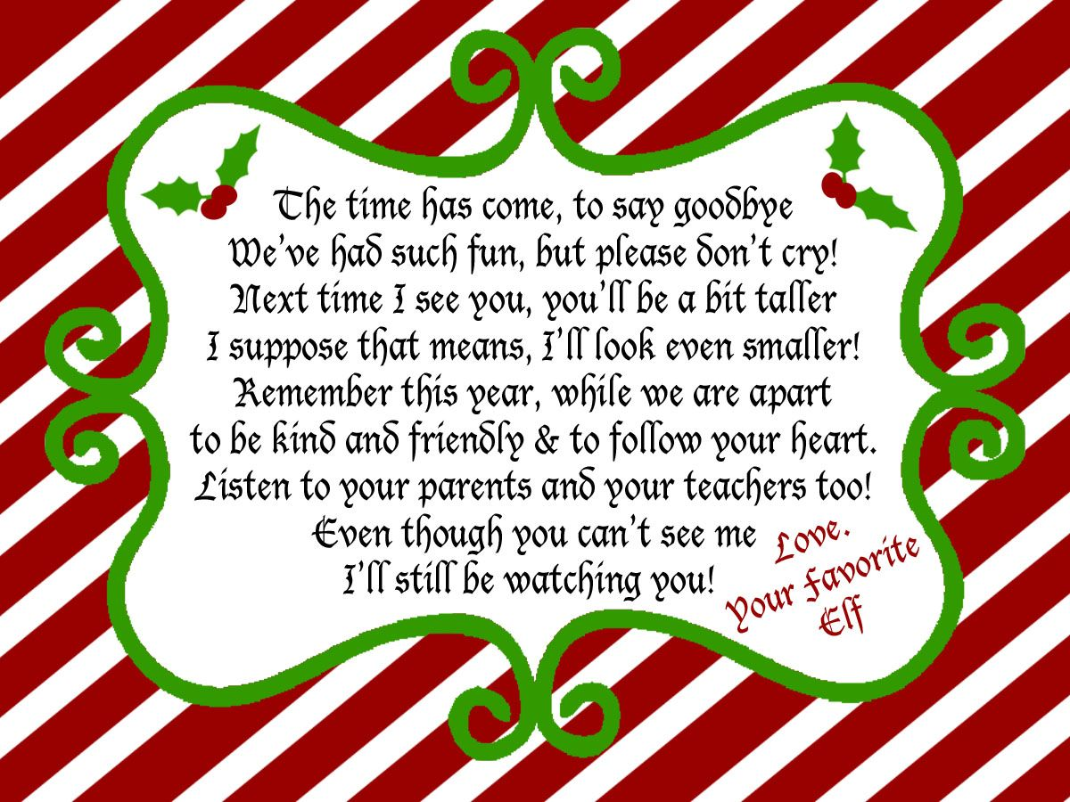 Elf on a Shelf Goodbye Note for Christmas Eve! Surprise