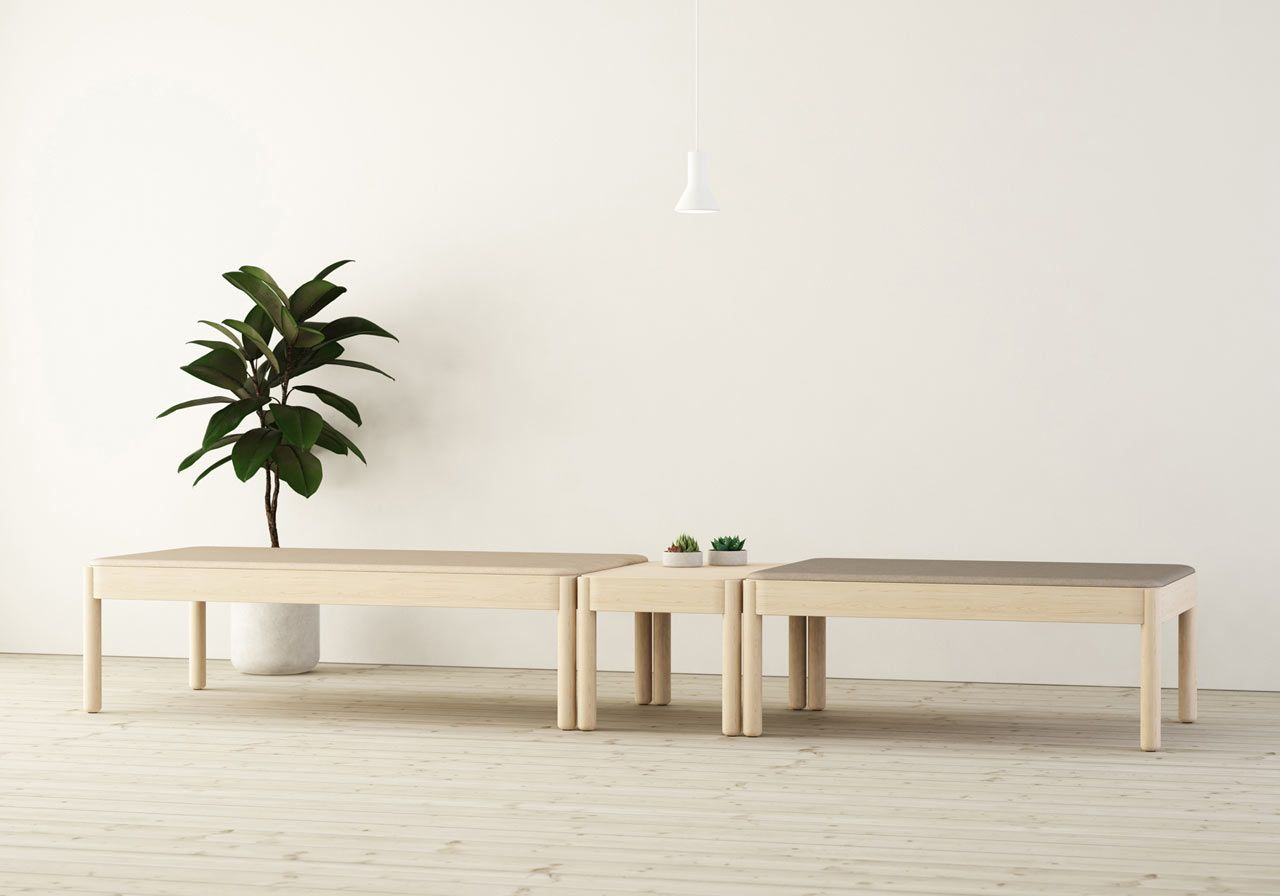 solid light wood tables and benches that absorb sound