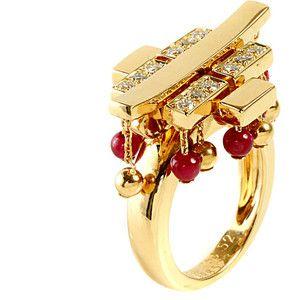Cartier Le Baiser du Dragon Ruby Diamond Yellow Gold Ring