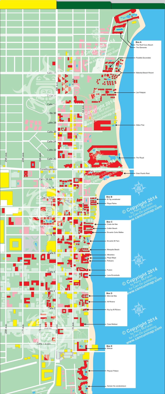 Playa Del Carmen Map Of Beachfront