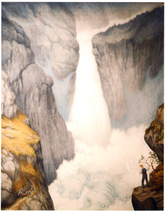Industrigrunderen Sam Eyde skapte den norske kunstgjødselproduksjon basert på Kristian Birkelands metode. For å skape den elektrisiteten de trengte til produksjon, bygde de ut blant annet fossene Rjukan og Svelgfoss. Med dette ble Rjukan og Notodden bysamfunn. Eventyr kunstnerenTheodor Kittelsen laget fem bilder på oppdrag fra Sam Eyde, for å feire den nye teknikkens inntog. …