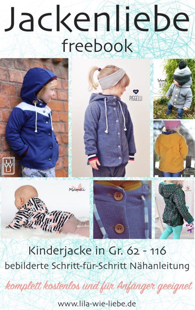 """Veste pour enfants Freebook """"Jackenliebe"""" – modèle gratuit – violet comme l'amour   – Nähen für Kinder"""