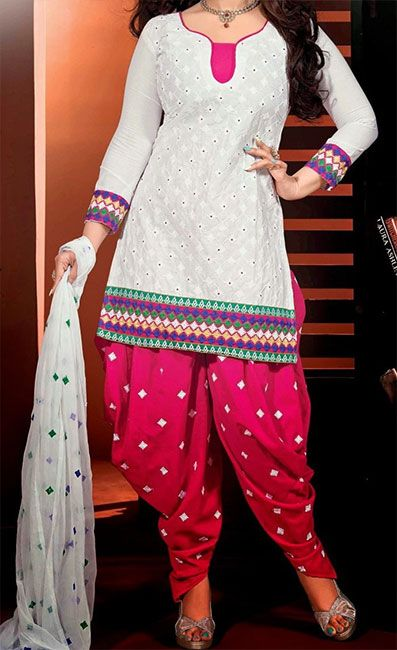 White And Pink Patiala Suit With Simple Gala Neck Designs