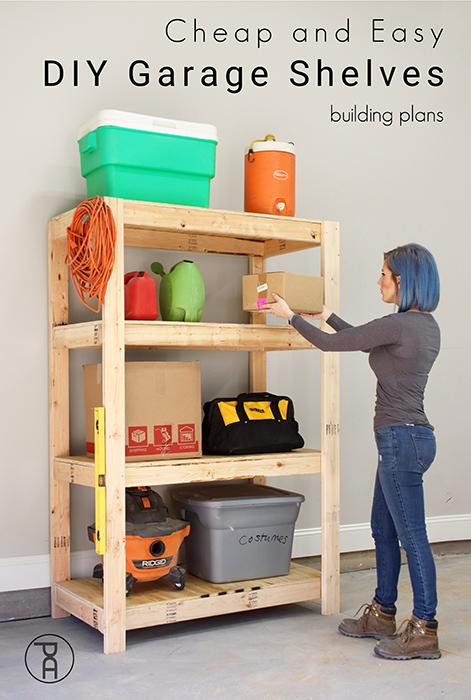 Cheap and Easy DIY Garage Shelves in 2020 Diy storage