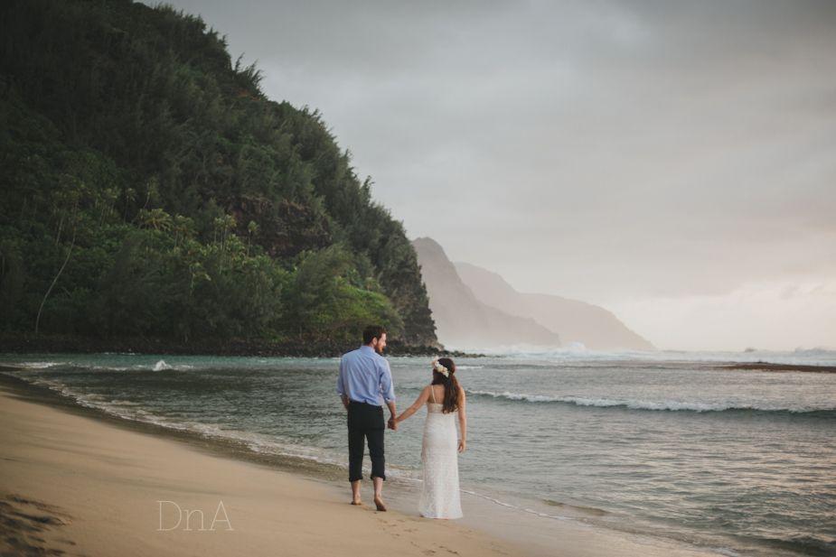 Dnawylie Com Kauai Elopement Beach Wedding Ke E