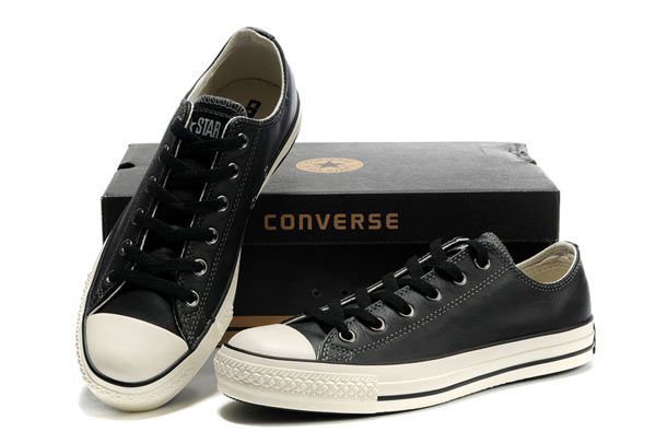 6167e287bf7 converse on sale - Monochrome black leather Converse All Star Low Top  Sneakers Edition overseas