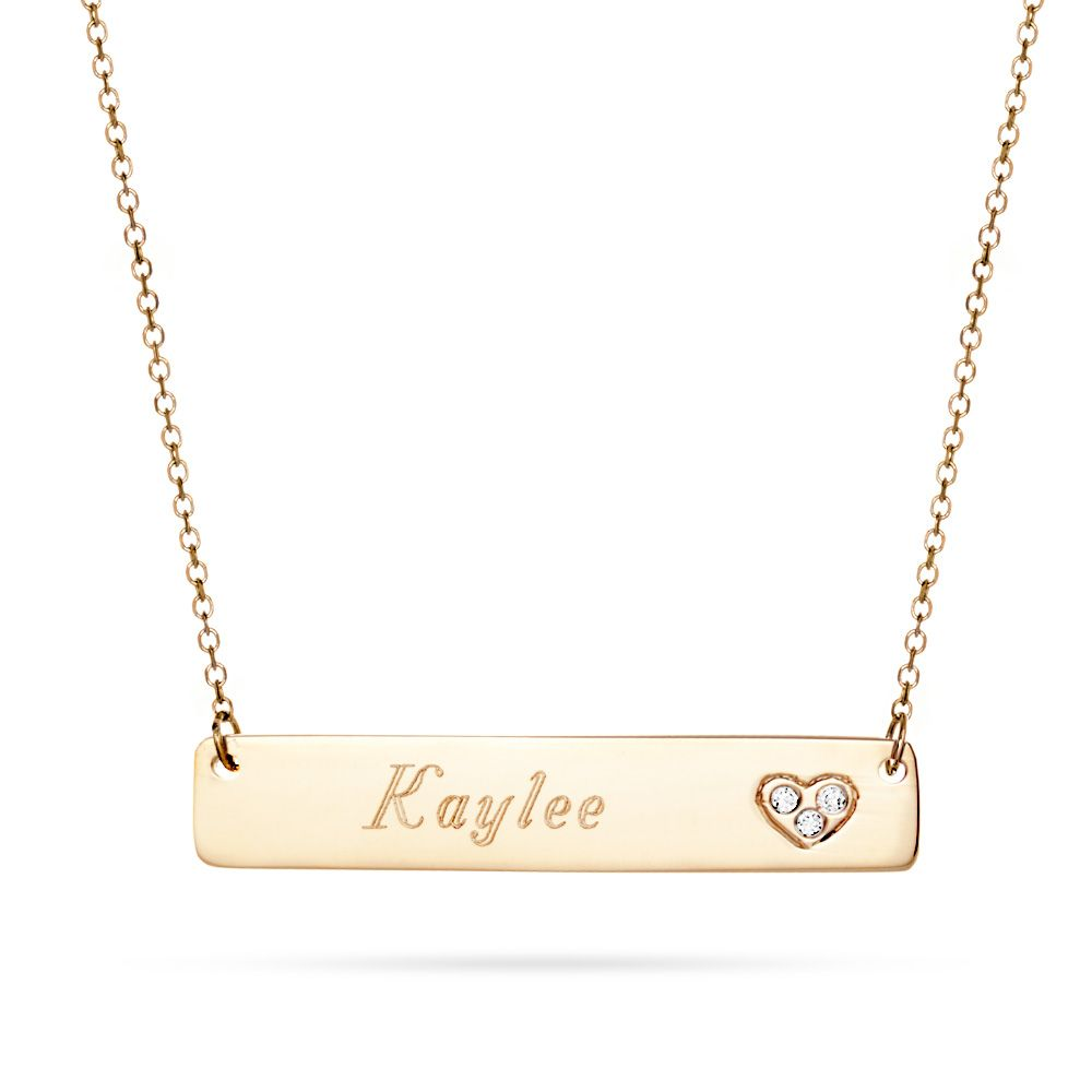 14k gold bar nameplate diamond heart necklace pinterest gold engrave your name onto this 14k gold nameplate necklace on the side of the bar next to your name there is a cubic zirconia heart aloadofball Images