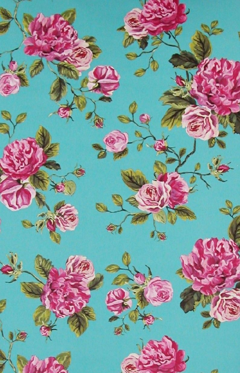 Floral Fabric Vintage Wallpapers Blue Marbles Rose Wallpaper Google Search Teal Flowers