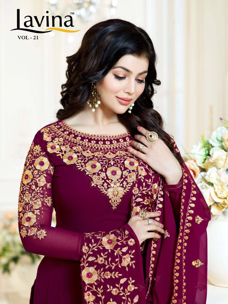 bc509b0cdb Lavina Vol 21 Georgette Embroidery Suits (6pc catalog) | Designer ...