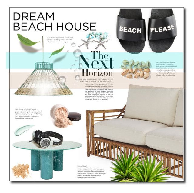 """""""Dream Beach House"""" by tina-miholic ❤ liked on Polyvore featuring interior, interiors, interior design, home, home decor, interior decorating, Holly's House, Schutz, Laura Mercier and Bare Escentuals"""