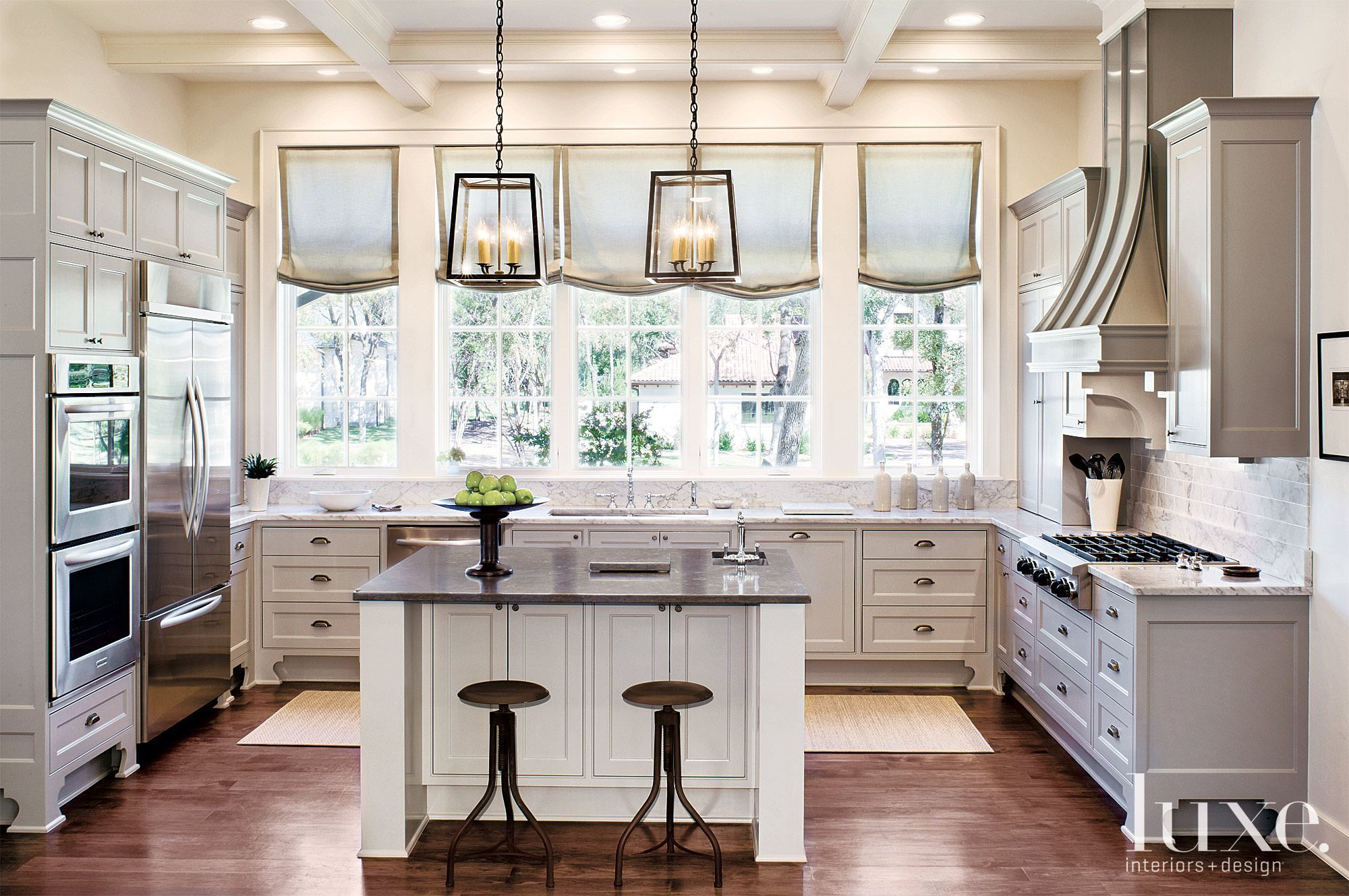 contemporary white kitchen with french windows luxesource luxe magazine the luxur on kitchen interior with window id=88168