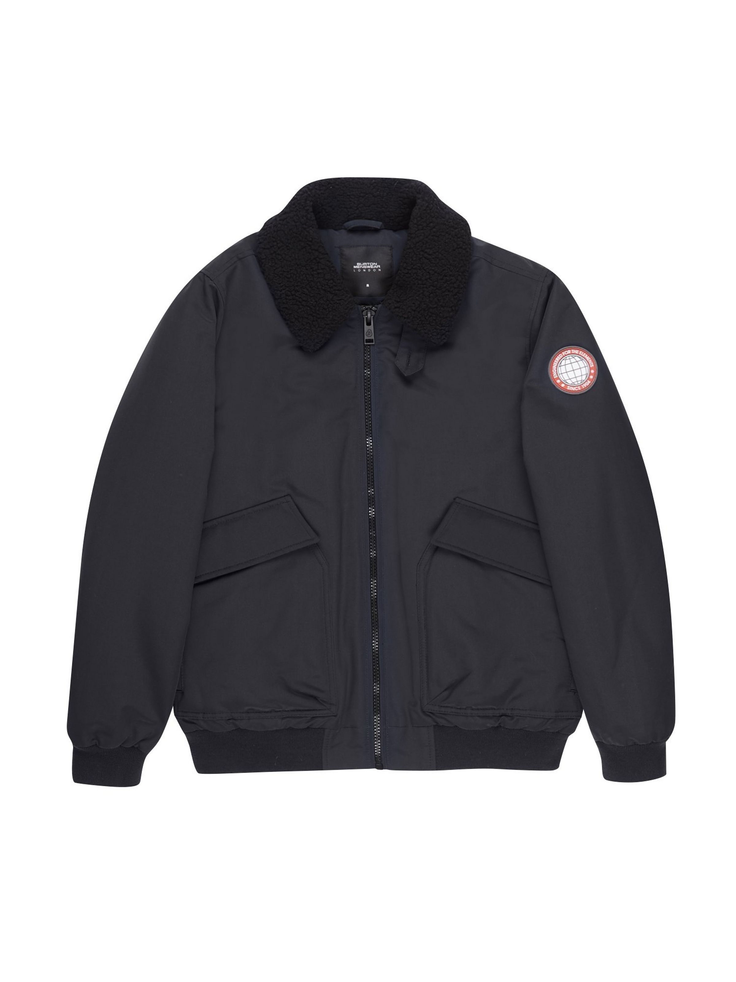 cfae0e7eb Navy Borg Collared Padded Bomber Jacket in 2019 | Wool bombers with ...