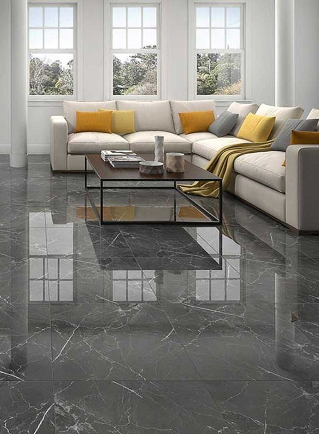 31 Chic Living Room Design Ideas With Floor Granite Tile To