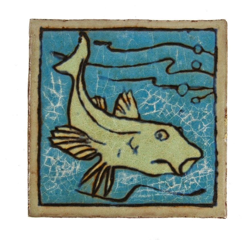 jarvis-hunt-designed late 1920's lakeshore drive athletic club interior pool room wall mount polychromatic nautical-themed enameled red clay figural tile