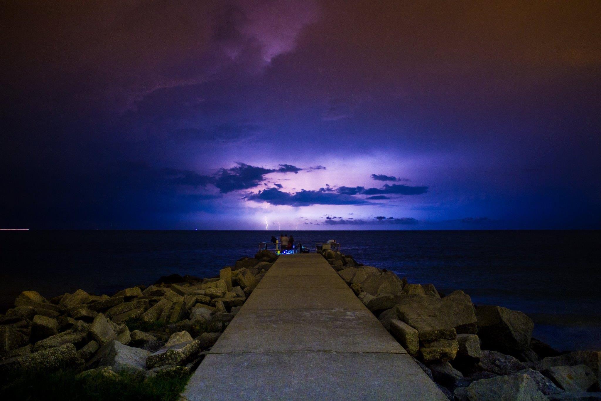 cool shot of lightning illuminating the sky off st pete beach last night great
