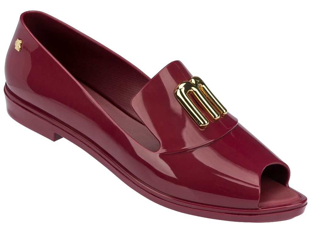 Red peep-toe brogue with white bows from Melissa Shoes x Karl Lagerfeld fall