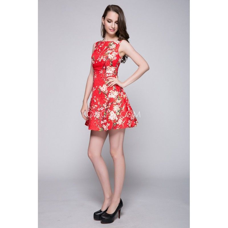 Sweet Jewel Sleeveless A-line Short Day Dress Printing Beautiful 2017 - OACHY The Boutique #line, #short, #printing, #boutique, #jewel