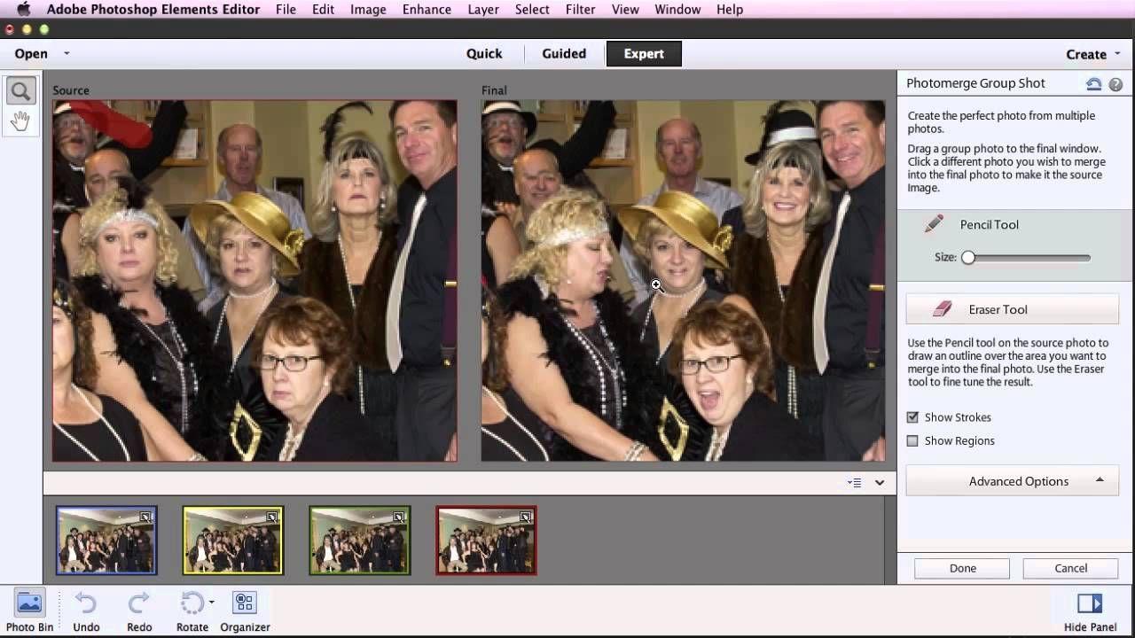 Photoshop elements merge multiple images