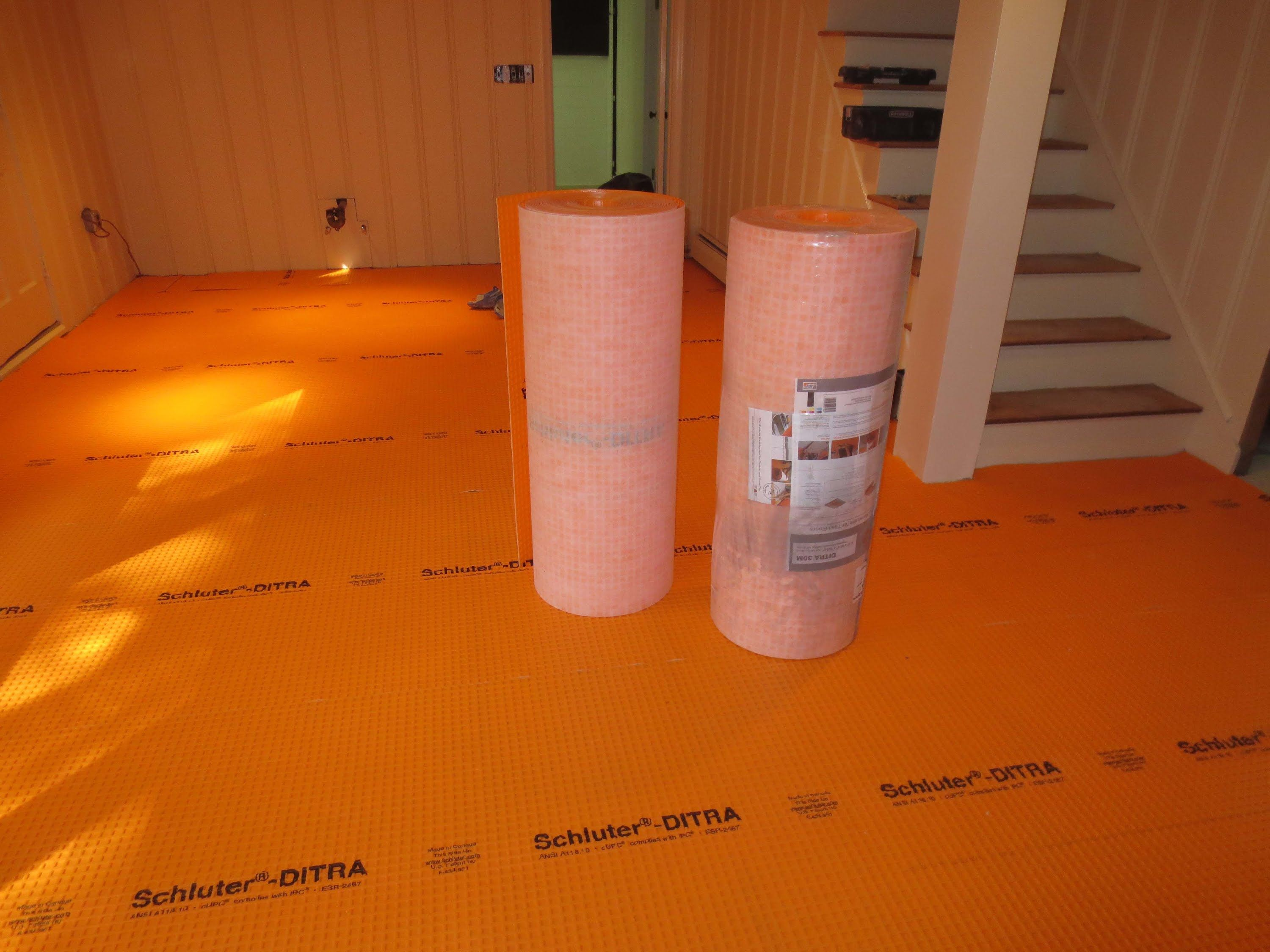 How To Tile A Large Bat Floor Part 1 Installing Schluter Ditra
