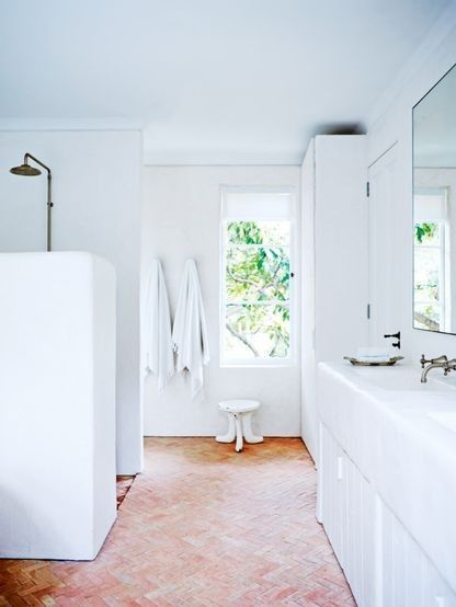 Renovation: a spacious Sydney home gets an exotic Mediterranean makeover: Another bathroom shows thetadelakt plaster effect. Contact romiw@bigpond.com.