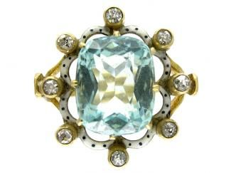 Edwardian. Aquamarine, Enamel and Diamond Ring.