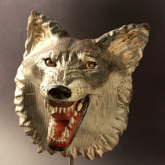 Snarling Wolf Mask  carved wood by jasontennant on Etsy, $675.00