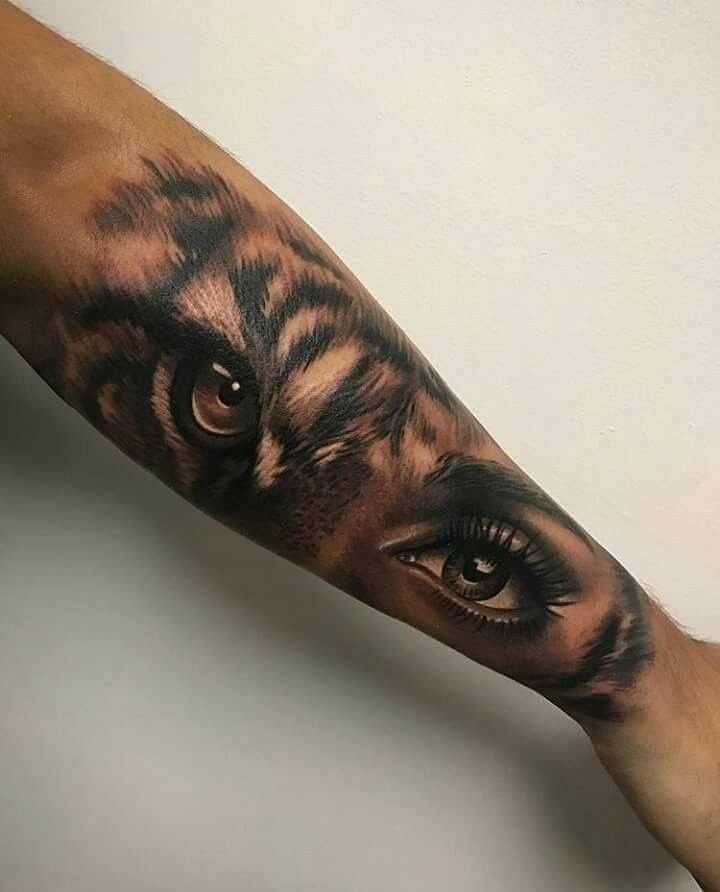Tattoo Woman Eyes: Half Tiger Half ? Damaged Girl?