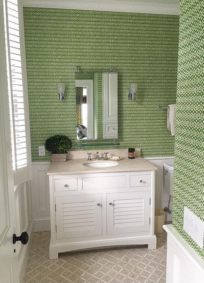 Bathroom Wainscoting and Wallpaper. Bathroom features Wainscoting and Wallpaper on walls. Bathroom Wainscoting and Wallpaper ideas.