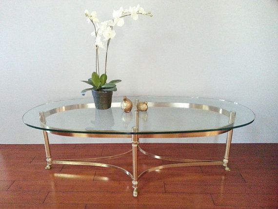 coffee / cocktail table ~ labarge brass hoof foot ~ hollywood