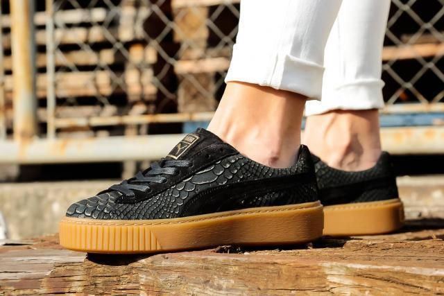 df58bc5a83b1f2 NEW PUMA Basket Platform Exotic Skin Black Gold ( sizes 6.5 - 8.5 )  PUMA   FashionSneakers