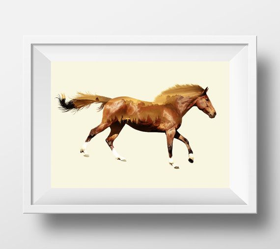 Horse decor, horse wall art, double exposure, horse photography ...