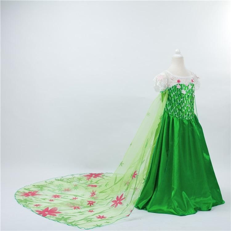 Best Fever Elsa Dress Sleeveless Flower Dress For Kids Green Flower ...