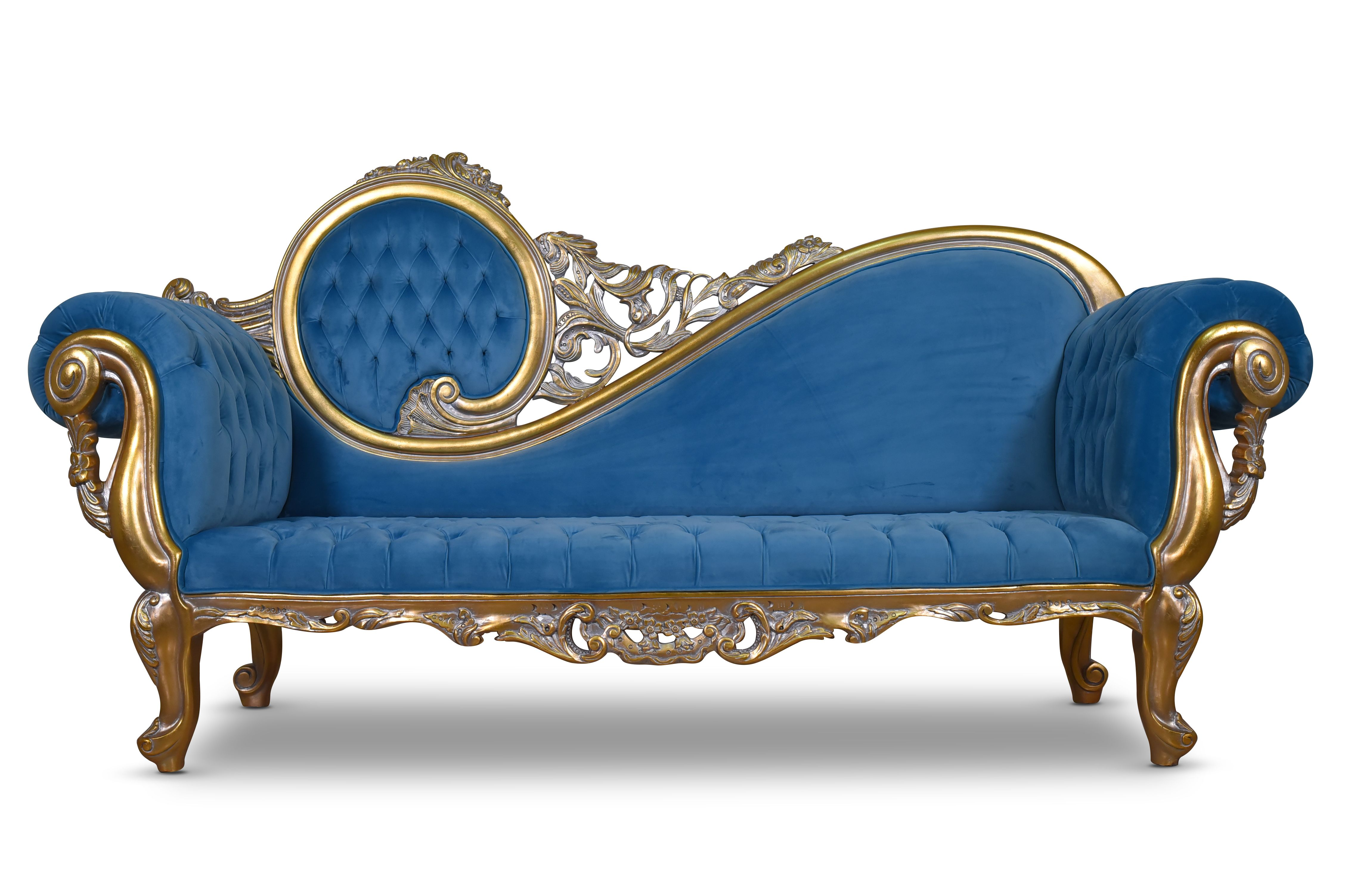 Citronelle Victorian Style Gold Leaf Tufted Blue Velvet Chaise Lounge Silvanus Handmade Furniture Victorian Furniture Vintage Furniture Makeover Chaise Lounge