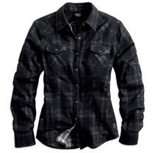 Women's Convertible Sleeve Double Layer Plaid Shirt | MotorClothes® Merchandise | Harley-Davidson USA