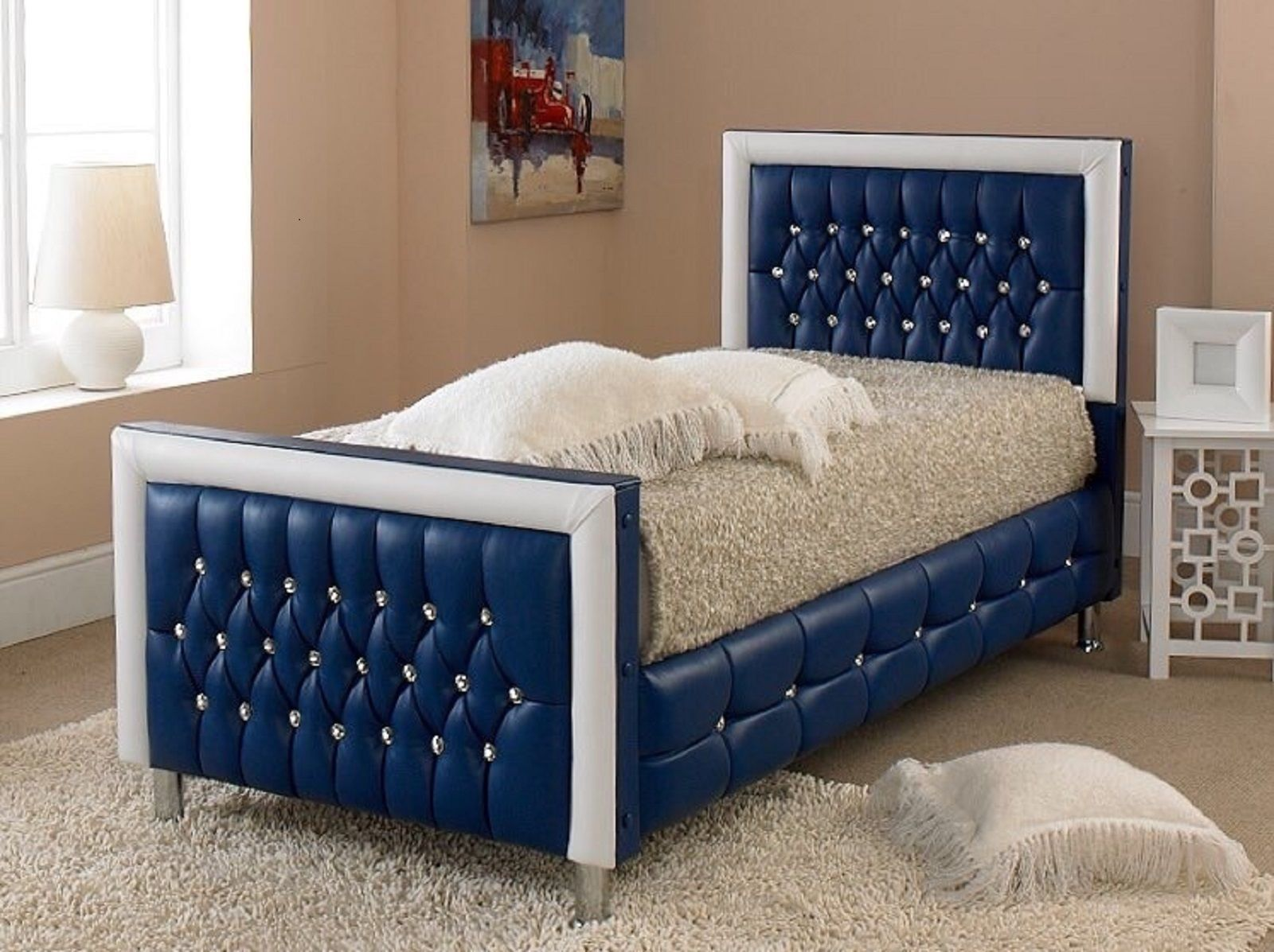 Kids Bed Girls Or Boys All Colours Faux Leather Diamond