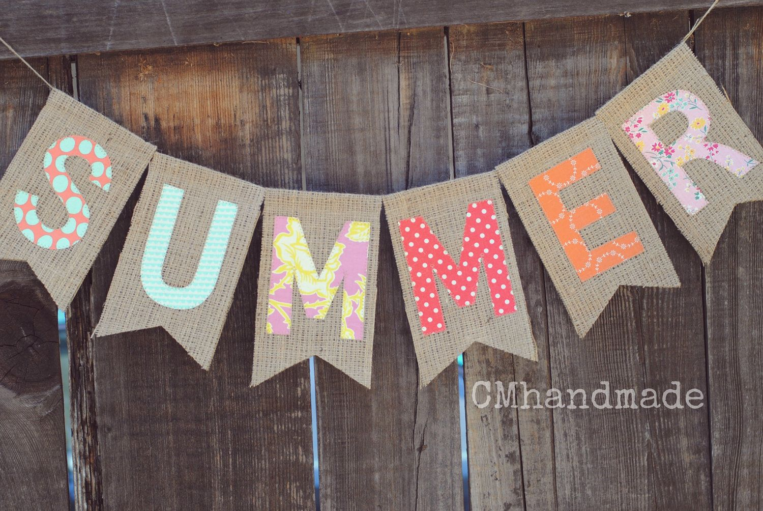 SUMMER banner - burlap and fabric