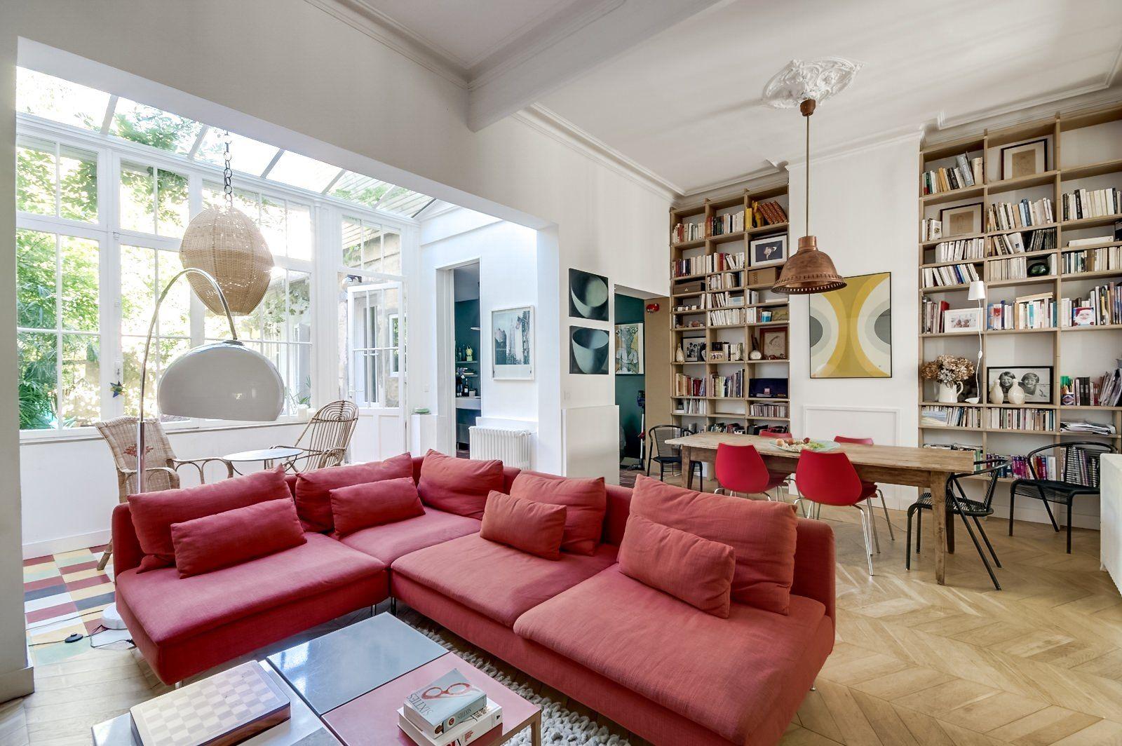 Salon Et Bibliotheque Bordelais Chez Caroline Piece A Vivre Bordeaux Echoppe