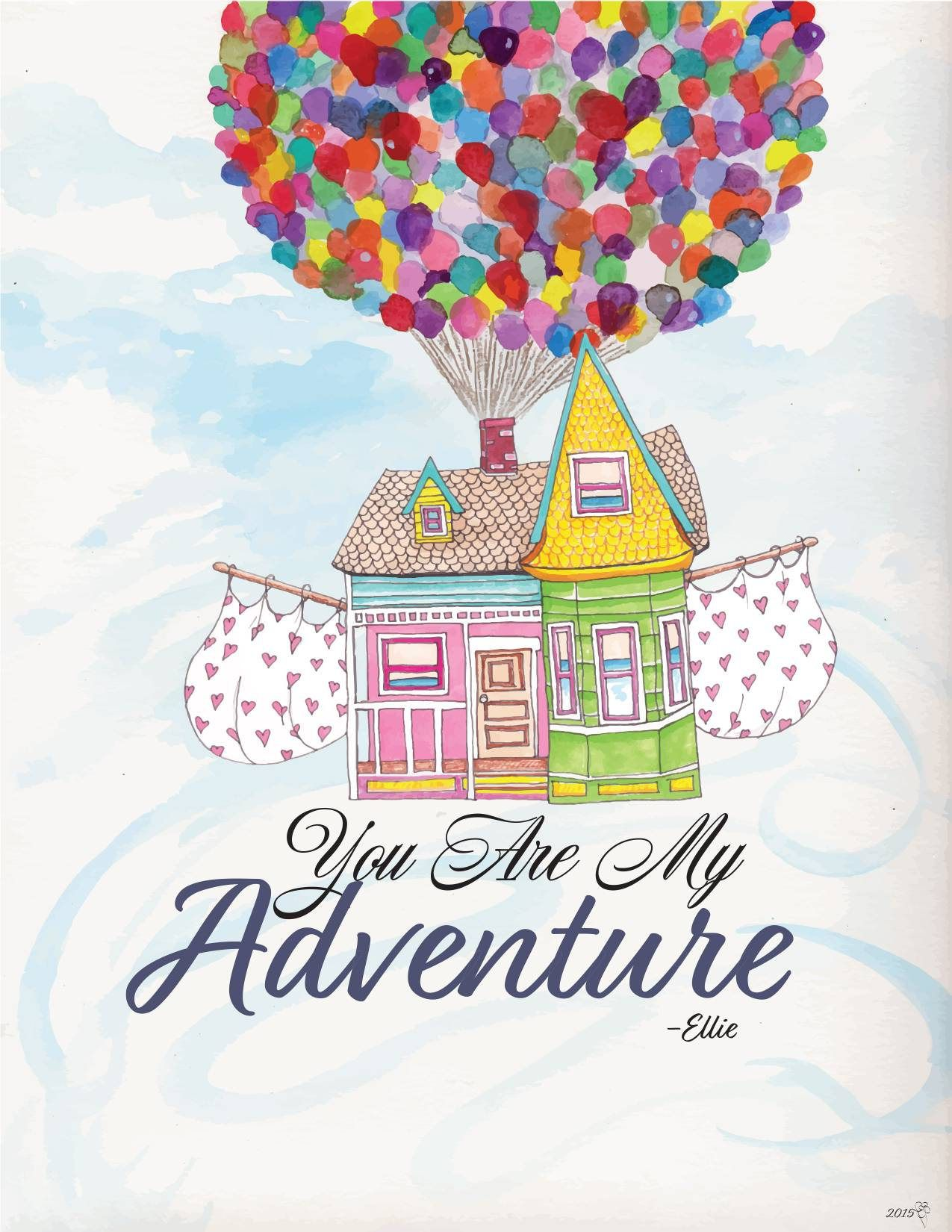 Pixar Up Adventure fine art illustration print Wall Poster