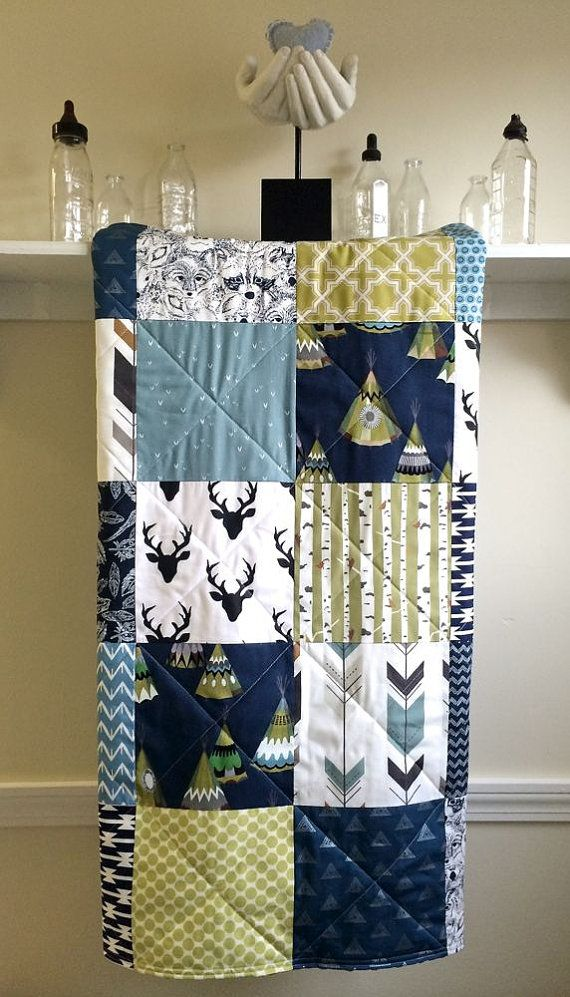 Rustic Baby Quilt Boy TeePee Navy Deer By FernLeslieBaby On Etsy