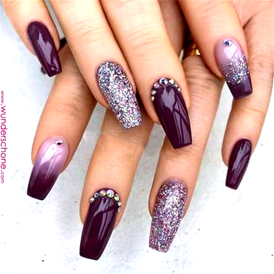 Elegant Purple Glitter Coffin Nails For Summer | Ganaajlo | Acrylic nails coffin... #nageldesigns li