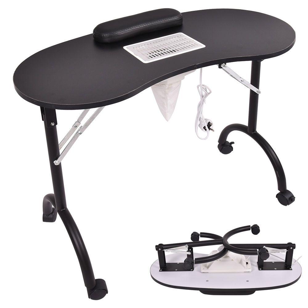 Black Folding Portable Vented Manicure Table Nail Desk
