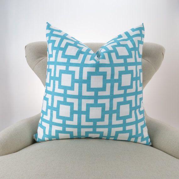 Coastal Blue & White Throw Pillow Cover, Aqua Blue Geometric Pattern by DeliciousPillows