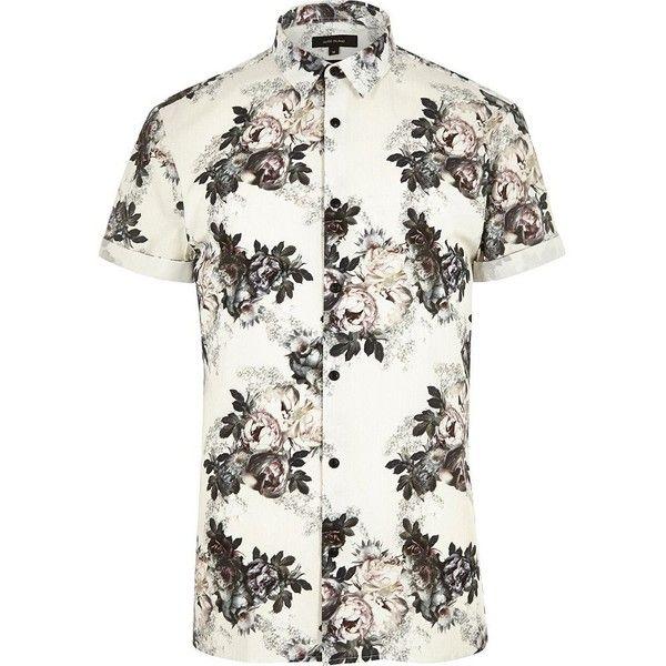 Men/'s Fashion Slim Fit Short Sleeve Floral Shirt Casual Button Down Dress Shirts