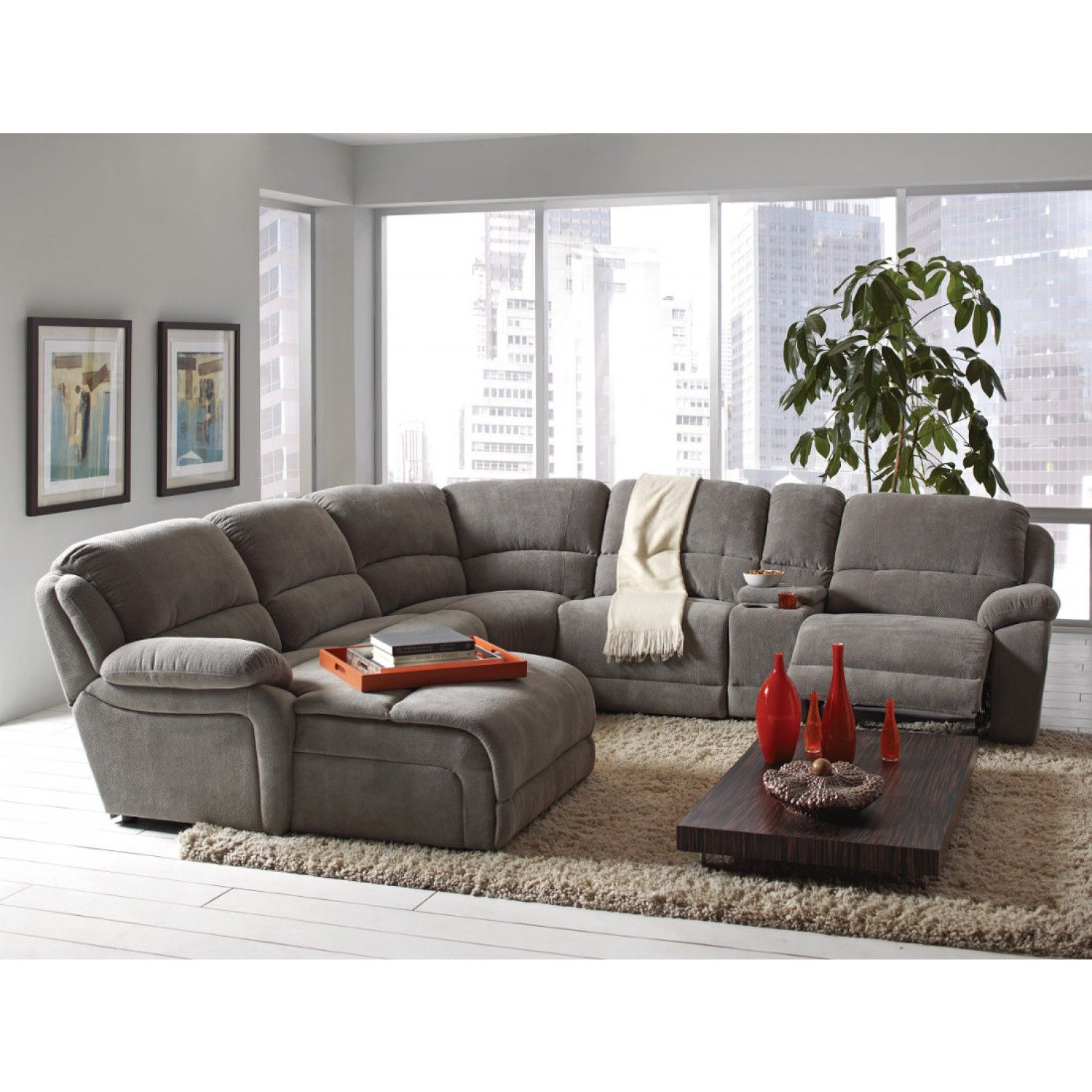 Coaster Mackenzie Silver 6Piece Reclining Sectional Sofa with