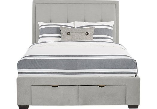 Daniella Gray 3 Pc King Upholstered Bed with 2 Drawer Storage