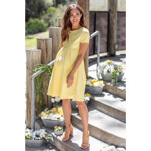 8bcac6c8acc37 Yellow Basic Pleated Skirt Maternity Dress in 2019 | A Dream is a ...
