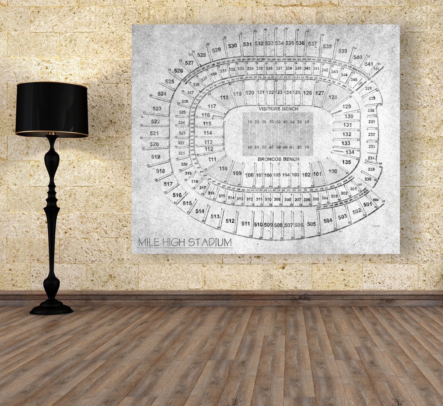 Vintage Style Print of Mile High Stadium Seating Chart on Photo ...