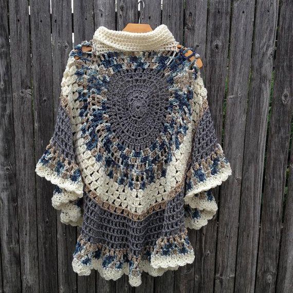 Circular Asymmetric Long Poncho Shawl Crochet von ToppyToppyKnits ...